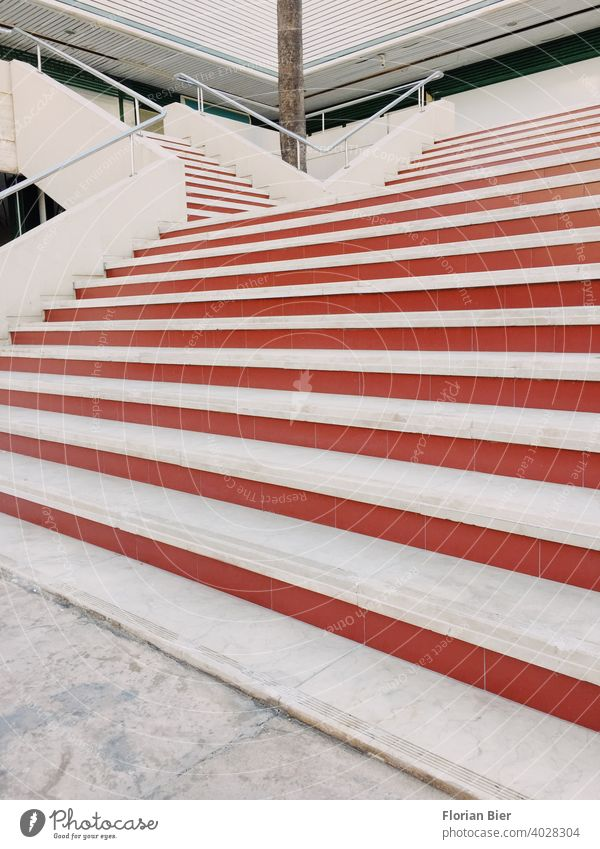 Large outdoor staircase with red steps to the first floor Stairs Staircase Line lines graphically Banister stagger rail Architecture Upward Downward Go up