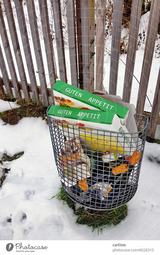 GOOD APPETITE - The rest of the feast ends up in the trash. Better than in the bushes. Trash waste Pizza pizza box bottles Litter bin Environment soiling