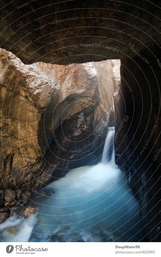 Into the depth Nature Elements Earth Air Water Summer Rock Alps Mountain Glacier Brook Waterfall Stone Sand Observe Discover Free Wet Blue Brown Gold Black