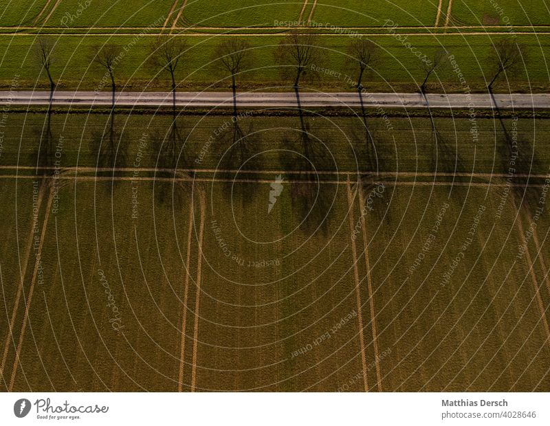Aerial view of a hiking trail UAV view droning drone Aerial photograph Lanes & trails Street Avenue Field Agriculture Landscape