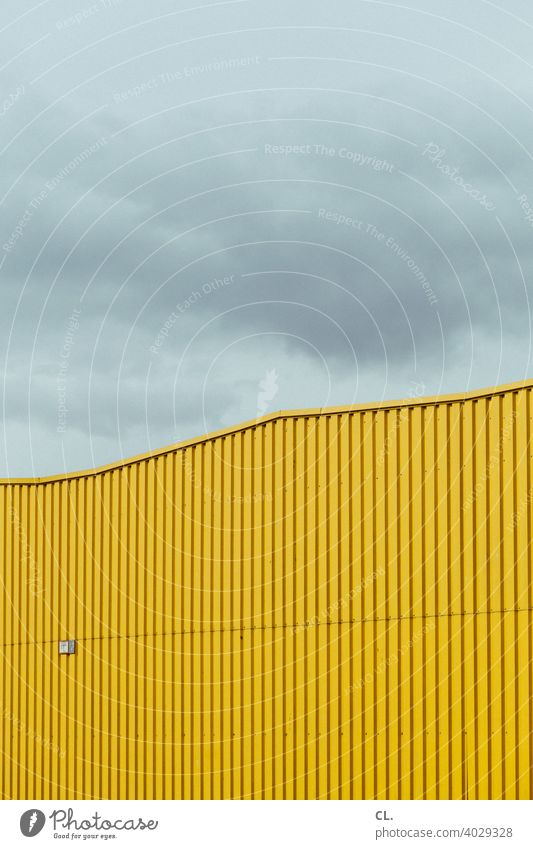 Yellow Hall Industrial area Warehouse Abstract Architecture Factory Building Sky Industrial zone Clouds Exterior shot Deserted