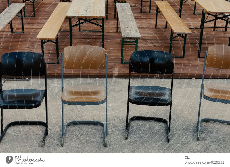 chairs, benches, tables Chair Bench Table Empty lockdown Boredom Event Closed Gastronomy Beer garden Seating Deserted broke corona Ale bench Wood Wooden table