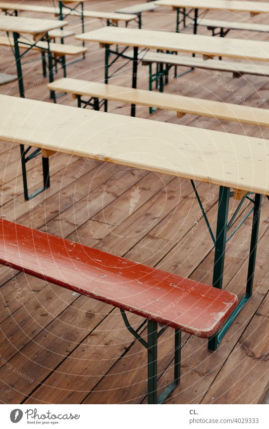 benches and tables Bench Table Empty lockdown Gastronomy Beer garden Ale bench Closed Deserted Seating Exterior shot Wood Wooden bench Wooden table Event Red