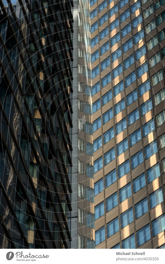 Two high-rise facades in Frankfurt am Main High-rise High-rise facade skyscrapers Tall upstairs Architecture Facade Town Building Window