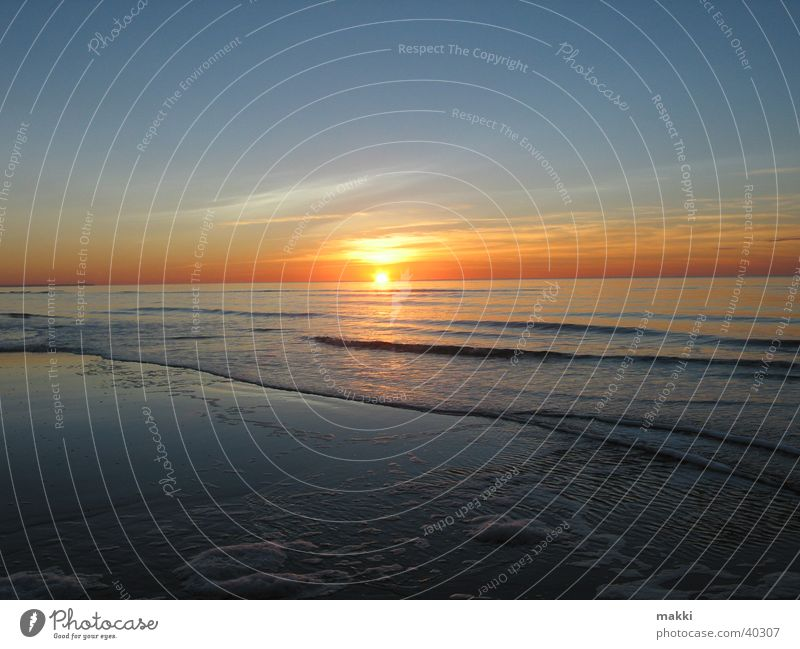Sunset Ocean Rømø Beach Romance Dusk Europe