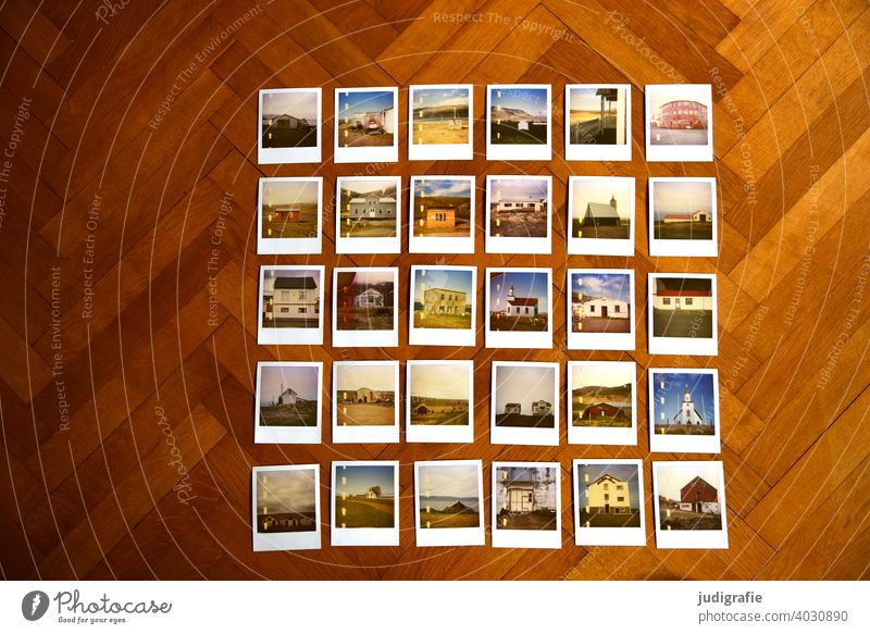 30 Polaroids with Icelandic houses on parquet floor Series of photos Photos Selection House (Residential Structure) Architecture dwell Parquet floor Church