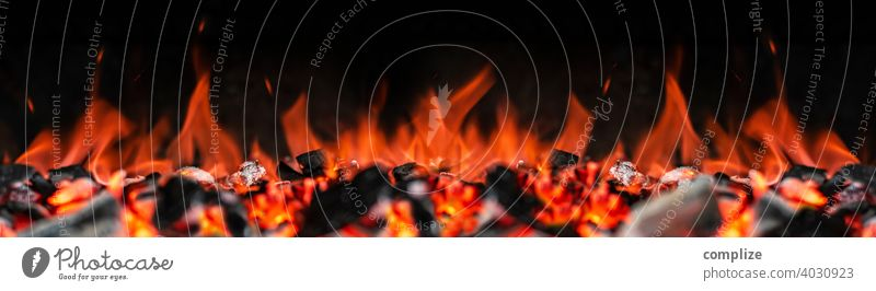 Fire, Flames, Embers, Grilling & Charcoal Panorama Barbecue area grilled meat BBQ season barbecue. charcoal Detail Charcoal (cooking) Spring Panorama (Format)