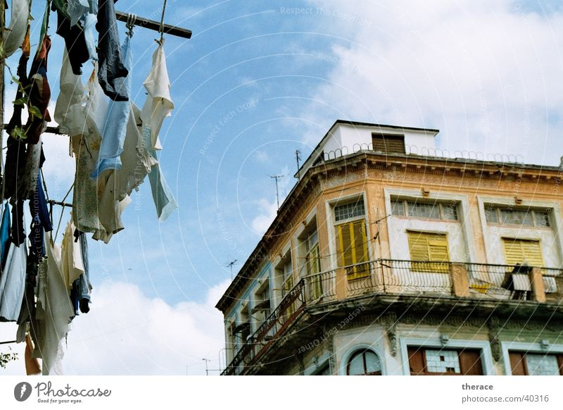 Laundry in Havana House (Residential Structure) Sky Cuba Picturesque Yellow Looking Tall Above Decline Old Household Dictatorship Straw hat Siesta Midday