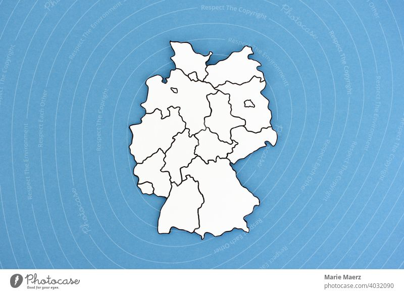 Germany map made of paper with federal states drawn in Map States frontiers Minimalistic Abstract paper cut country Neutral Background outline Illustration