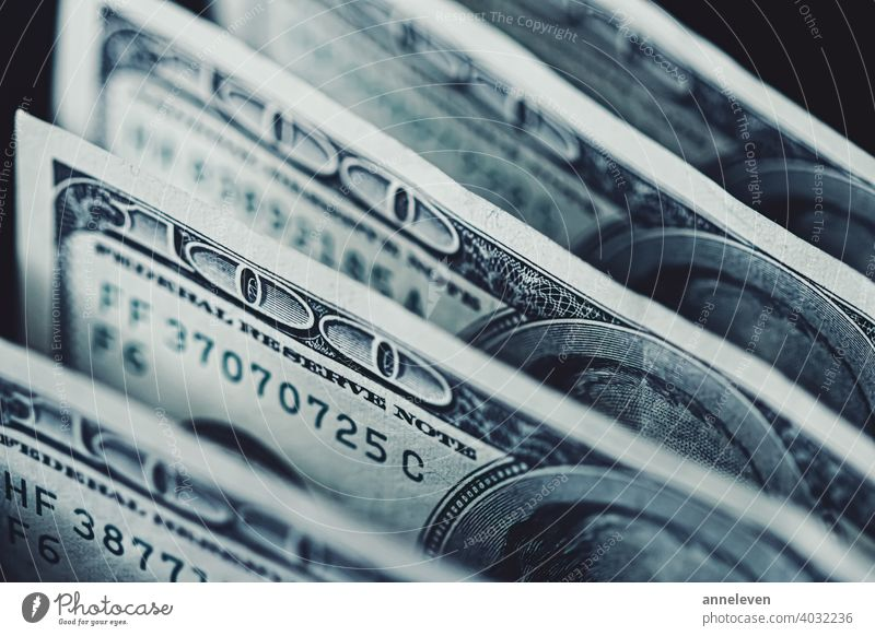 American dollar bills as finance and investment concept, macro 100 america american authentic bank banking banknote blue business cash cinematic closeup