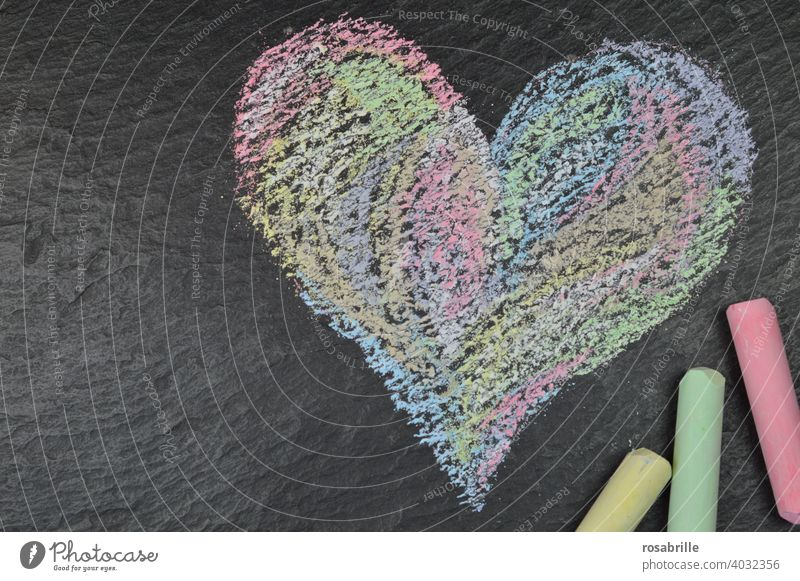green, yellow, red | crayon and a painted heart on black slate Heart Chalk Chalk Heart Love Painting (action, artwork) Child Childlike oneself variegated Slate