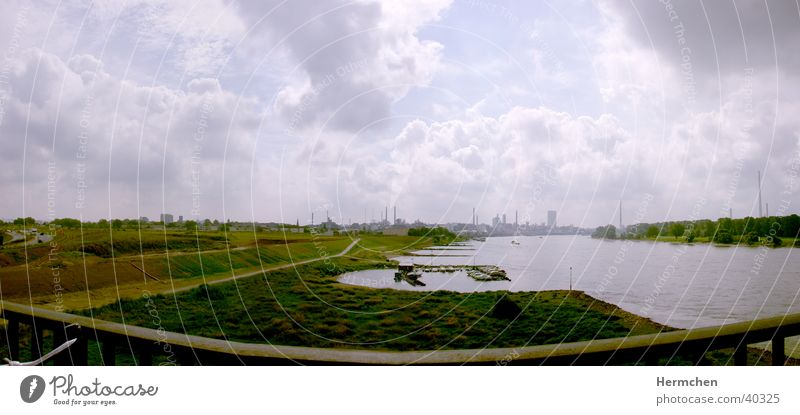 Water Clouds Graffiti Large River Industrial Photography Skyline Panorama (Format)