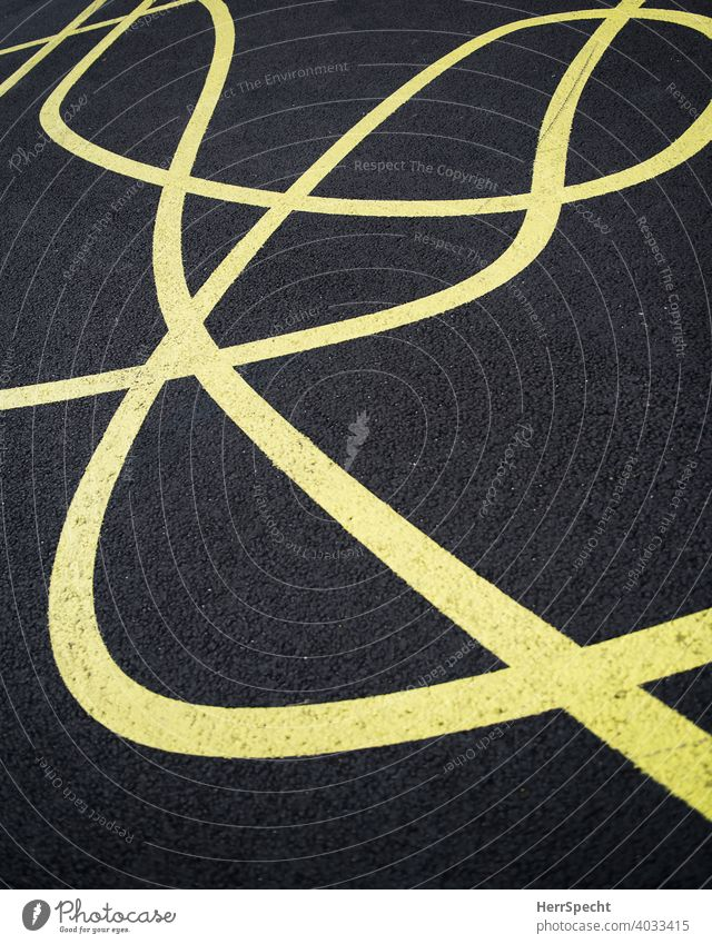 Chaotic lines Pavement Street Traffic infrastructure Deserted Exterior shot Tar Line Signs and labeling Lane markings Colour photo Traffic lane havoc Yellow