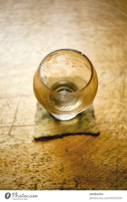 Empty glass on my desk Felt Glass Wood Wooden table Tea Tea glass Table Drinking Coaster Beverage drinking glass