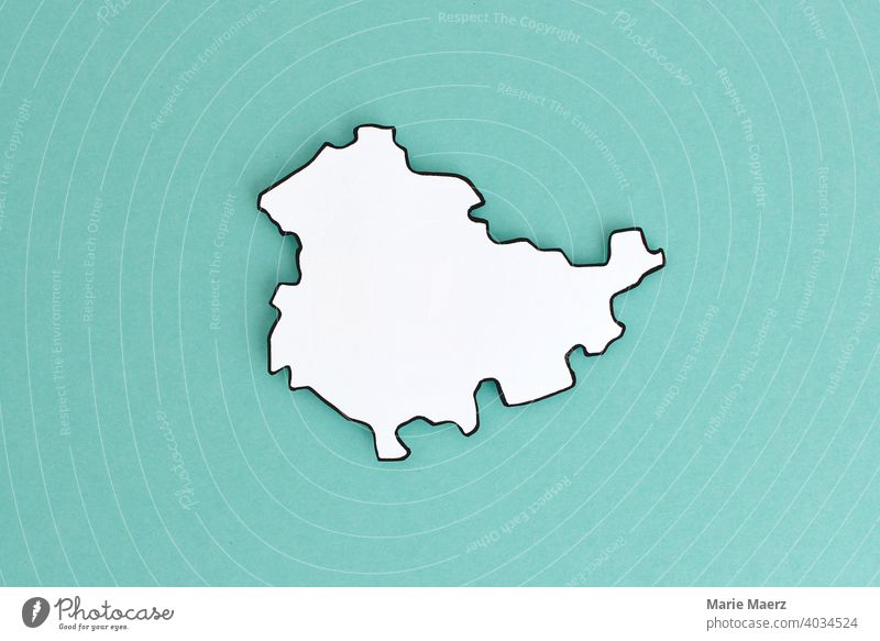 Federal state Thuringia as paper silhouette Federal State Germany country map Silhouette Paper paper cut Minimalistic Design Neutral White Abstract Illustration