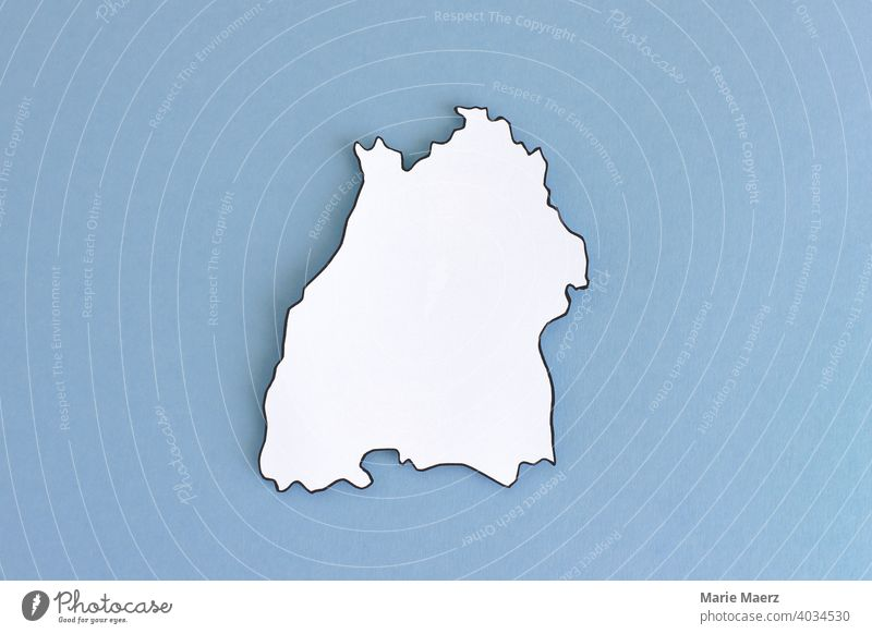Federal state Baden-Wuerttemberg as paper silhouette Neutral outline Design Minimalistic Background picture Structures and shapes Neutral Background Paper