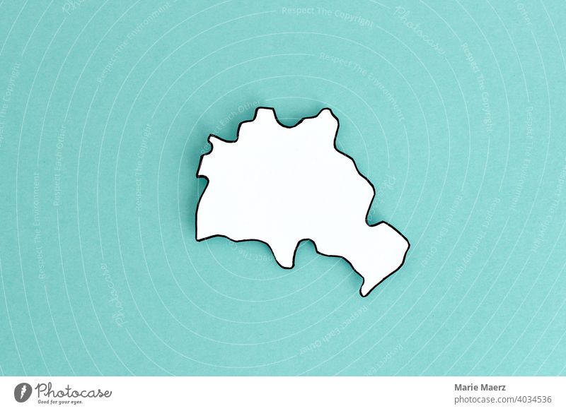 Federal state/city state Berlin as paper silhouette city-state frontiers Country policy Paper Background picture Neutral Illustration Germany country