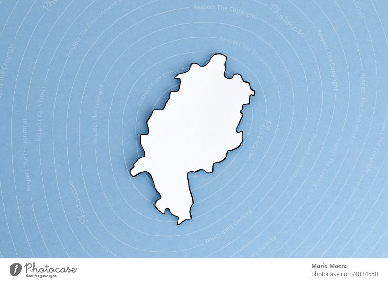 Federal state of Hesse as paper silhouette Neutral outline Design Minimalistic Background picture Structures and shapes Neutral Background Paper paper cut White