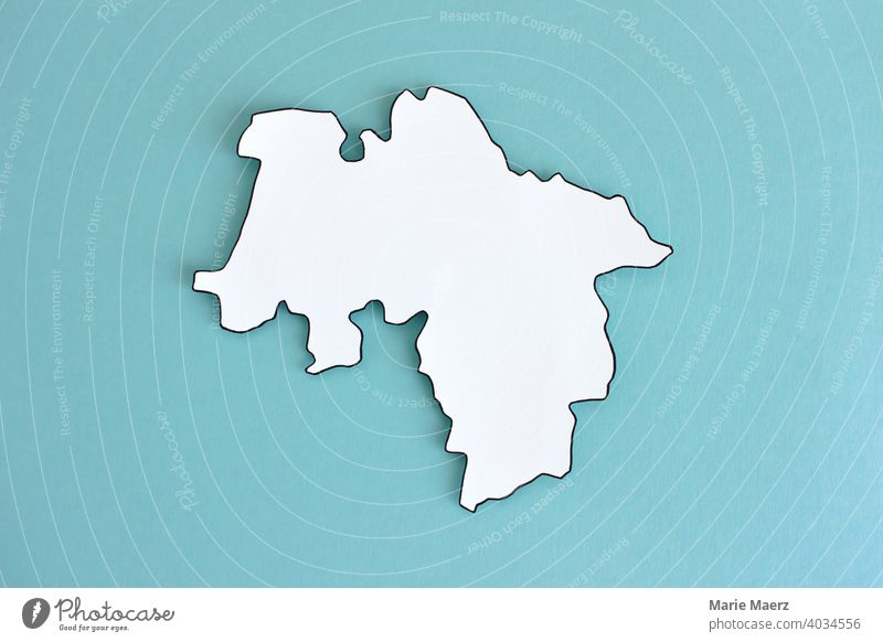 Federal state Lower Saxony as paper silhouette Illustration map Abstract frontiers Germany country Neutral Background Minimalistic Design Structures and shapes