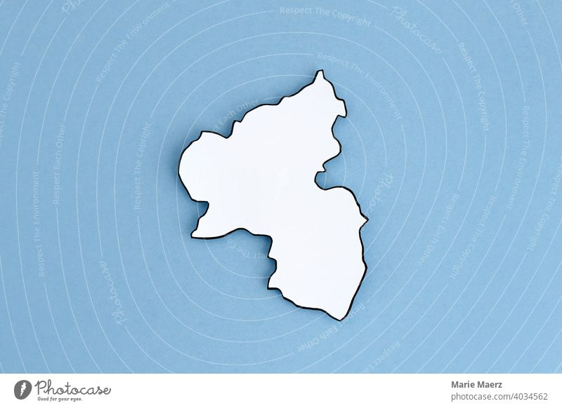 Federal state Rhineland-Palatinate as paper silhouette Structures and shapes Background picture Illustration Neutral Background Minimalistic map Federal State