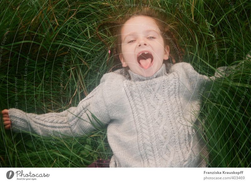 Human being Child Nature Vacation & Travel Green Plant Landscape Girl Joy Autumn Grass Playing Laughter Gray Happy Healthy
