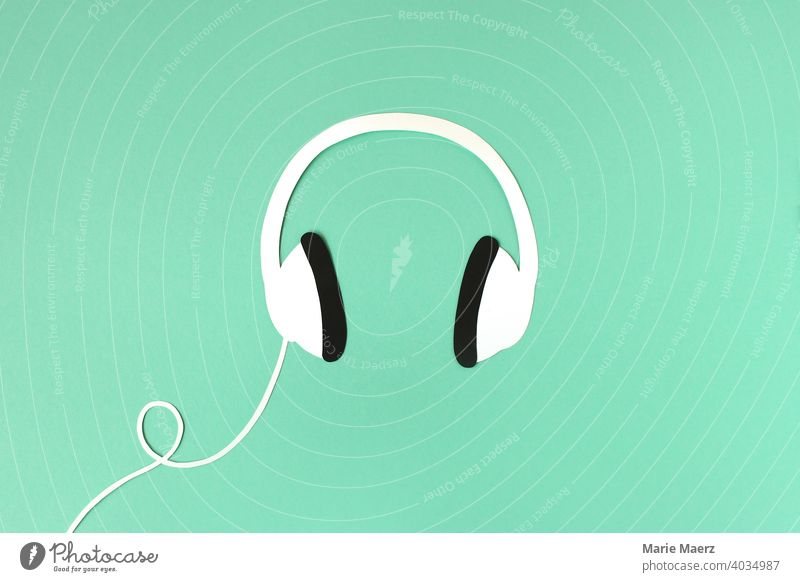 headphones Headphones Music audio Listening Podcast Radio (broadcasting) stylish Illustration Neutral Background paper cut Modern free time Lifestyle Sound