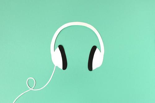 headphones Headphones Music audio Listening Podcast Radio (broadcasting) stylish Illustration Neutral Background paper cut Modern free time Lifestyle Sound