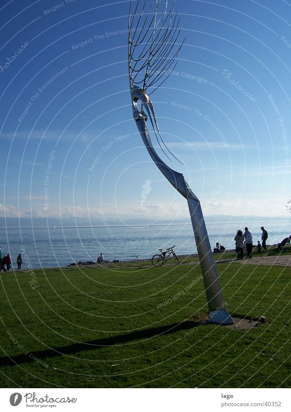 summer day Friedrichshafen Sculpture Art Lake Meadow Vacation & Travel Lake Constance Sun Shadow Colour