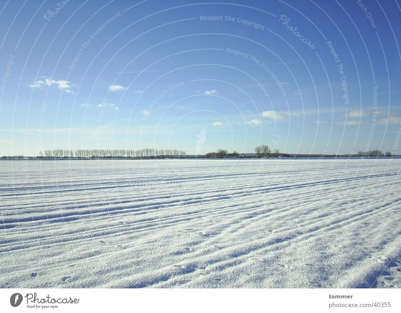 snowy landscape White Winter Cold Clouds Snow Sky Blue Tracks
