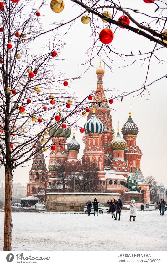 Moscow, Russia - February 21, 2021: Saint Basil's Cathedral in center city on Red Square in snowy winter, Moscow, Russia moscow travel culture architecture