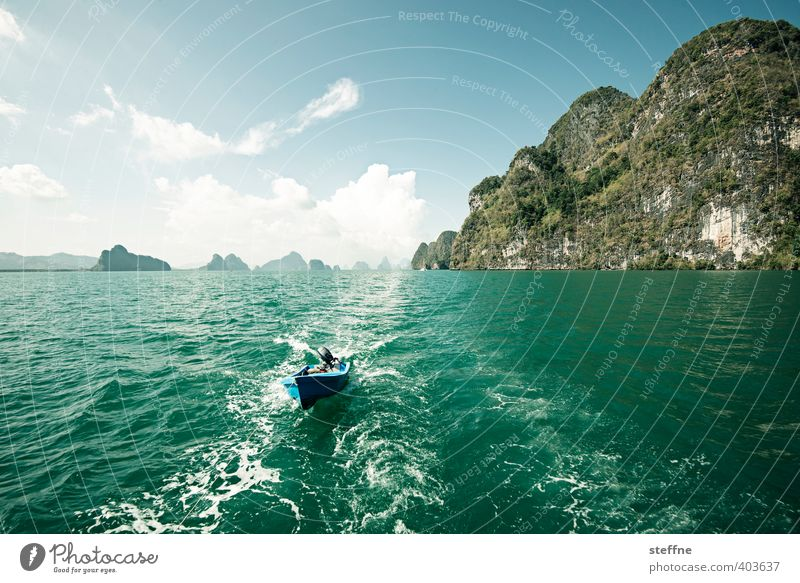 car chase Water Sky Beautiful weather Mountain Waves Ocean Island Thailand Phuket Tourism Vacation & Travel Trip Watercraft Boating trip Colour photo