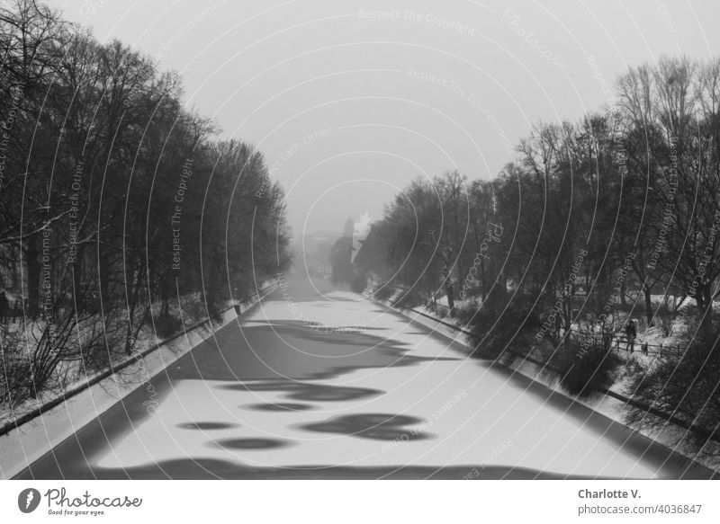 Corona thoughts | Grey in Grey in Grey Winter frozen Water Channel Landwehrkanal Ice Exterior shot Frozen Snow Frost Cold Frozen surface Deserted Fog Gloomy