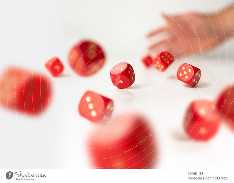 Many rolling red dice - increase chances Board game Effortless pitched Roll Risk Success concept financing Business Result Game of chance Throw dice Player