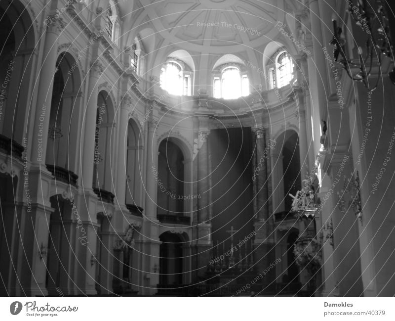 devotion Hofkirche Dresden Sunbeam Prayer Calm Window Altar Packaged Catholicism Architecture Black & white photo Religion and faith Baroque