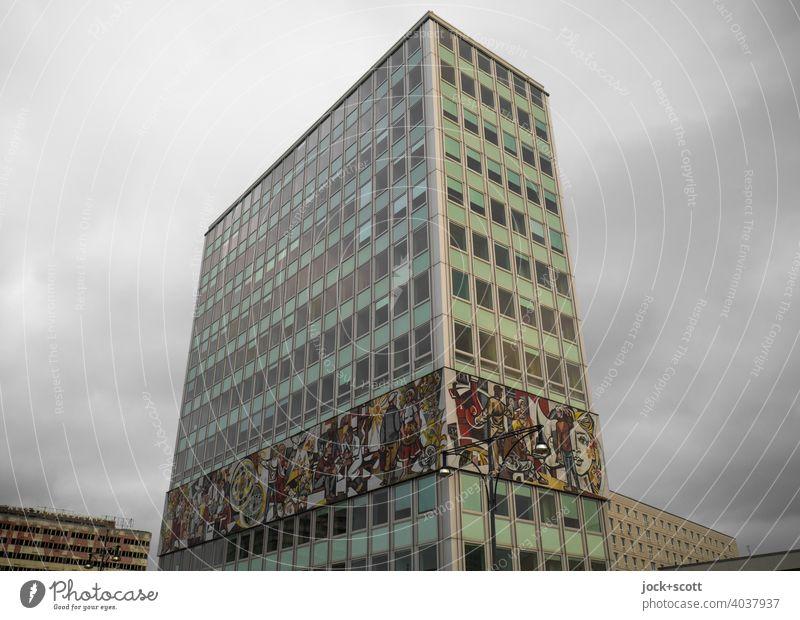 HOUSE OF THE TEACHER House of the teacher Architecture Alexanderplatz Building Facade Downtown Berlin grey sky Tourist Attraction High-rise Fries GDR