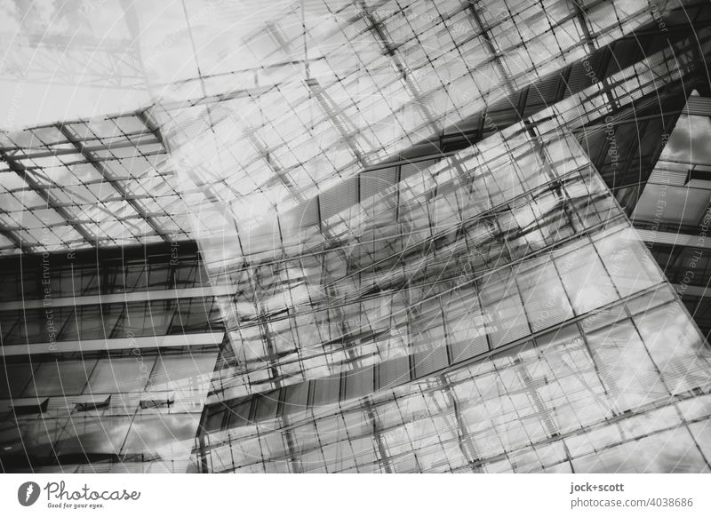 Abstract Architecture II Modern architecture Structures and shapes Glas facade Line Double exposure Reaction Design Silhouette Surrealism Style Complex Building