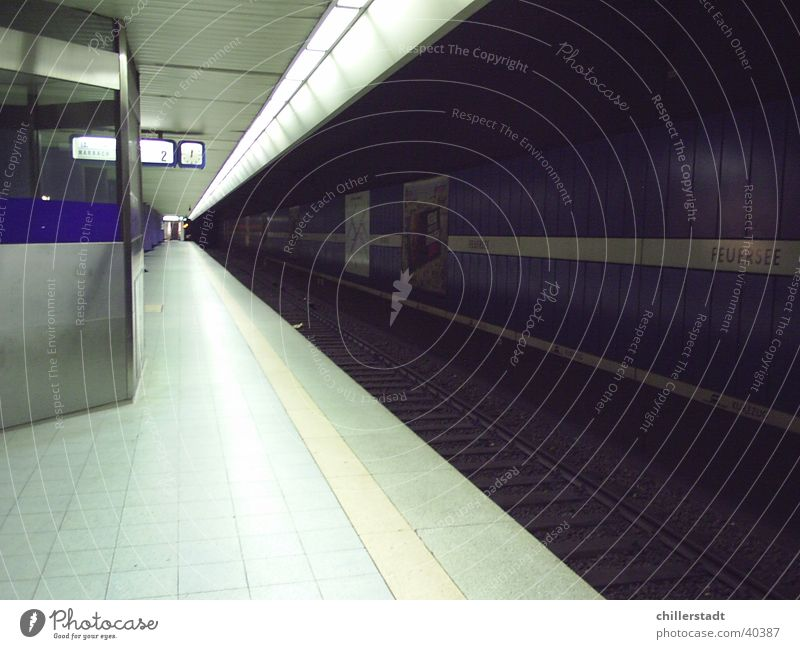 Dark Transport Railroad Empty Railroad tracks Stuttgart Platform