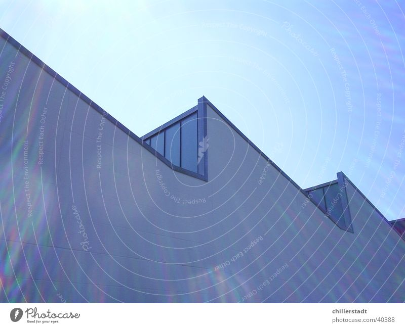 Sky White Sun Blue Window Architecture Glass Factory Warehouse