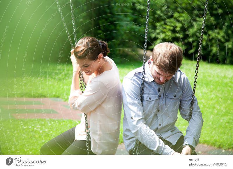 dangle Human being Masculine Feminine Young woman Youth (Young adults) Young man Brothers and sisters Friendship Couple 2 18 - 30 years Adults Happiness Swing