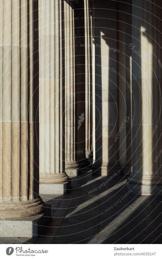 Doric columns of the Brandenburg Gate with sunlight and shadow Dorian Light Shadow Berlin Goal Capital city Tourist Attraction Monument Landmark Germany