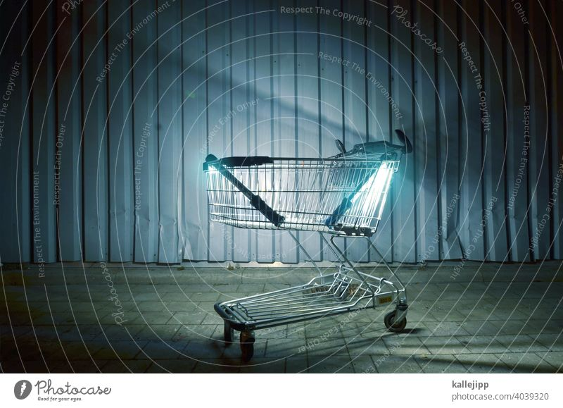 late night late hour Supermarket LATE SHOPPING Shopping basket Consumption Shopping Trolley Metal Deserted Store premises Markets Retail sector Empty