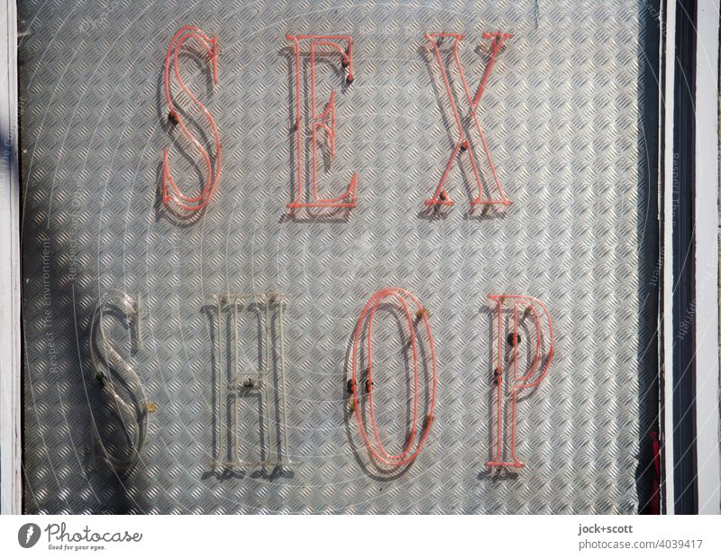 SEX SHOP daylight Neon sign Capital letter Typography Broken Red Illuminate Design Shop window Trade Signs and labeling Word English Metal plate Neon light neon