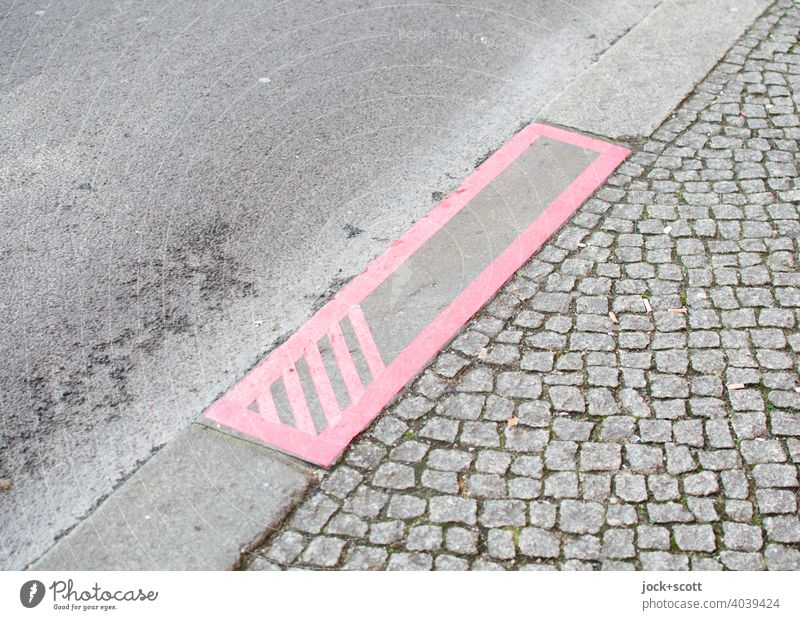 Forms of art in public space Sidewalk Street Detail Asphalt Cobblestones Gray Berlin Street art Curbside adhesive tape Structures and shapes Pattern Rectangle