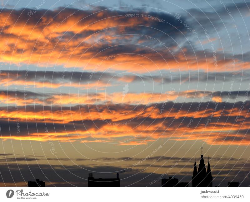 dramatic clouds and sunset atmosphere with a church on the bottom right Sunset Sunlight Panorama (View) Clouds in the sky Dramatic Visual spectacle Inspiration