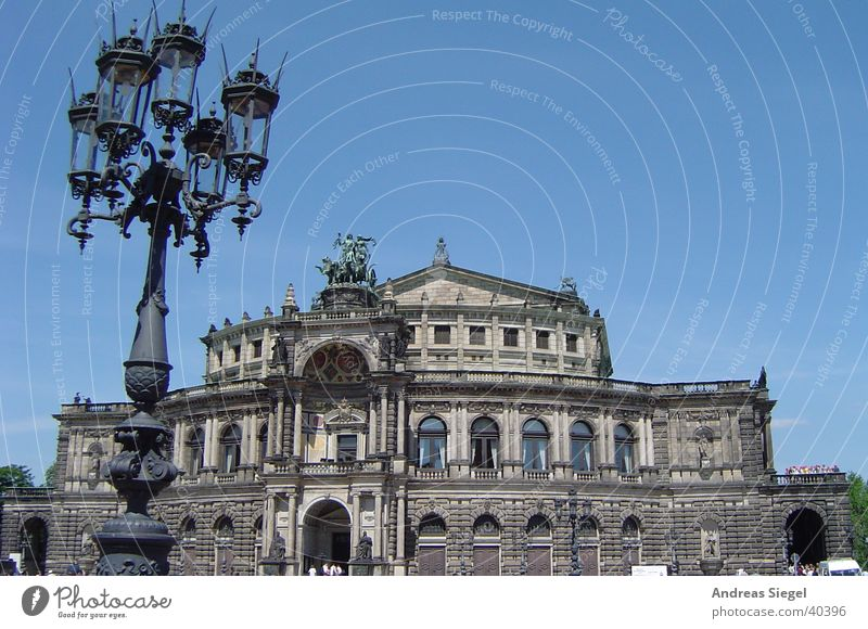 Architecture Places Culture Dresden Concert Lantern Theatre Historic Blue sky Opera Baroque Old town Semper Opera