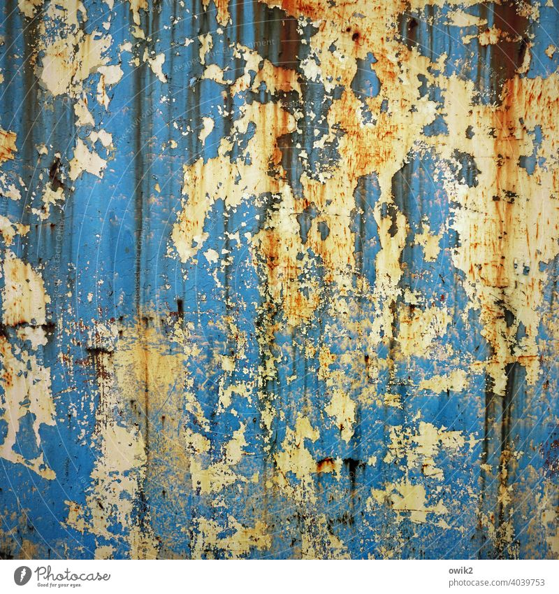 Strange Brew Blue Trashy Colour photo Deserted Structures and shapes Exterior shot Detail Abstract Bizarre Destruction Dirty Derelict Damage Multicoloured