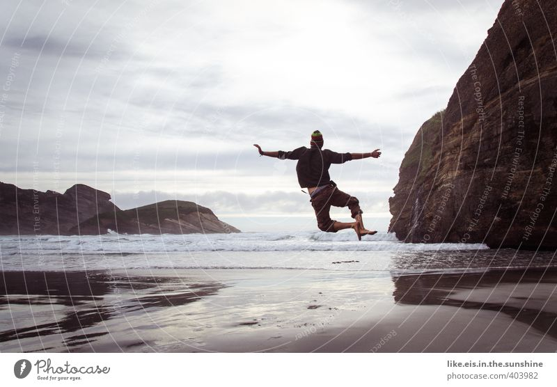 Human being Nature Youth (Young adults) Vacation & Travel Ocean Joy Beach Far-off places Young man Life Emotions Freedom Happy Jump Rock Masculine