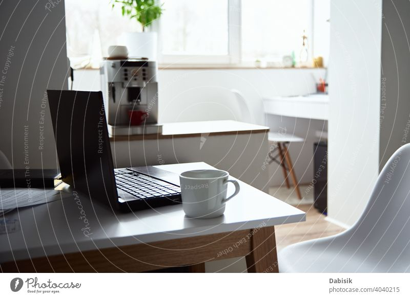 Freelancer home workplace. Laptop on table in office interior. Online job and remote work. laptop online business freelance notebook computer idea organization