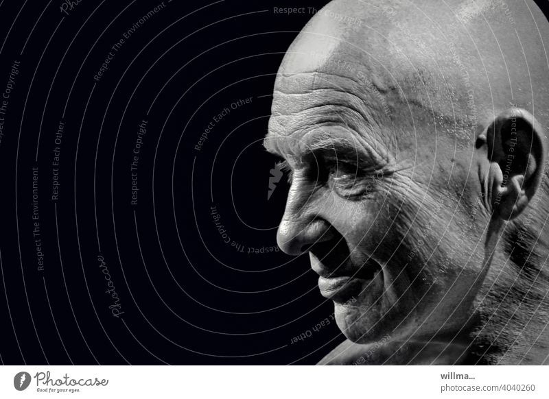 Portrait of a man with bald head Face masculine Profile portrait B/W Man Bald or shaved head Baldy Smiling equilibrium Charismatic Interesting Head more adult