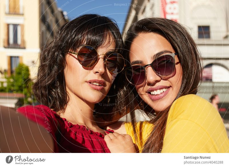 Selfie of two teenager girls. madrid young people friendship lifestyle beautiful fun happy together leisure woman smiling teens cheerful female youth teenagers
